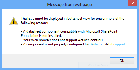 SharePoint List Cannot Be Displayed in Datasheet View